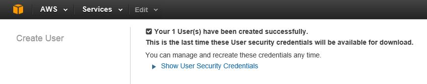 AWS Create New User - Show User Security Credentials