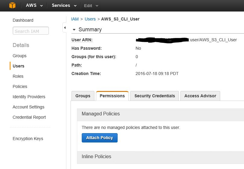 AWS User - Attache Policy