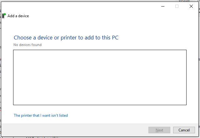 Add Printer - Add a Device