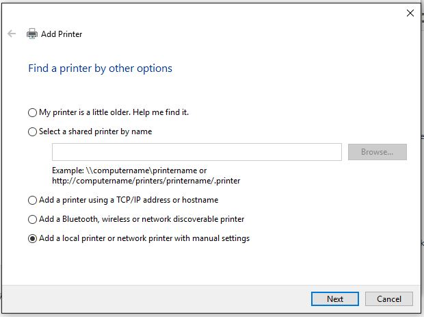 Add Printer - Find a printer by other options
