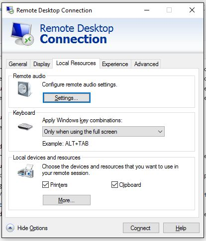 Remote Desktop Connection - Local Resources Tab