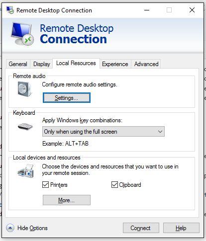 Remote Desktop Connection - Local Resources Tab