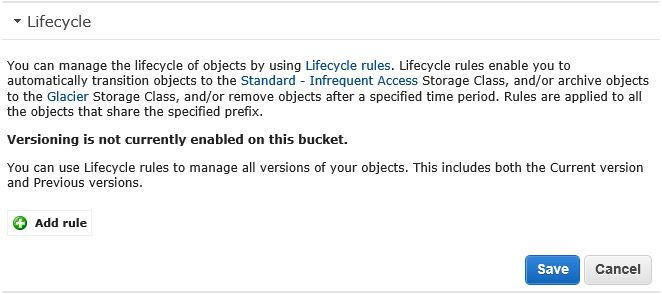 AWS S3 Bucket Properties - Lifecycle