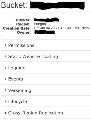 AWS S3 Bucket Properties