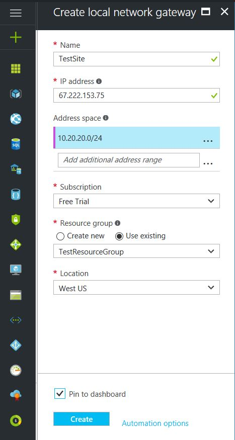 Azure Local Network Gateway Setup