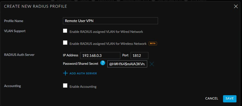 USG Remote User VPN - Create New RADIUS Profile