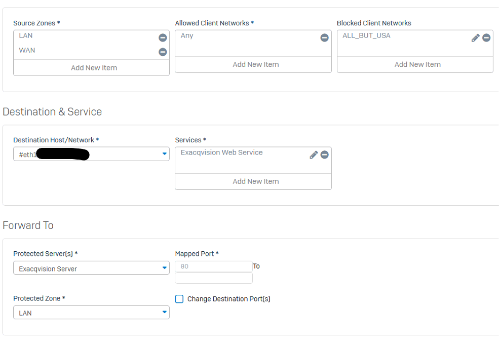 Sophos DNAT - Firewall Rule Details